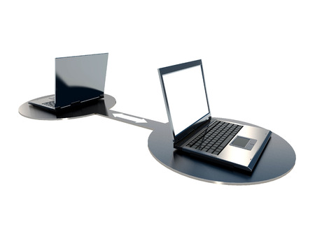 two laptops connected Stock Photo