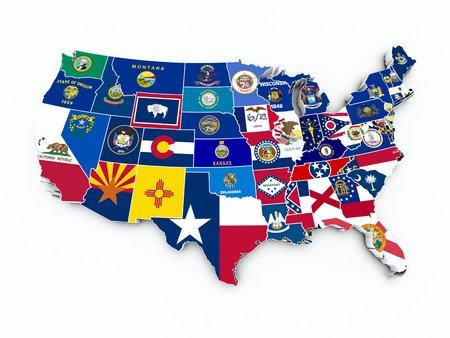 the united nations: banderas del estado de los EEUU en un mapa 3D