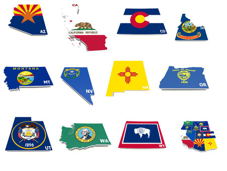 usa west states flags on 3d maps