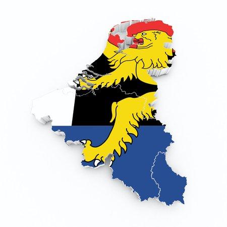 flemish: benelux flag on 3d map