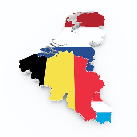 benelux state flags on 3d map