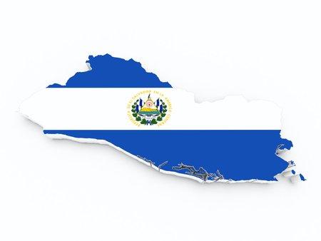 el salvador flag on 3d map Stock Photo
