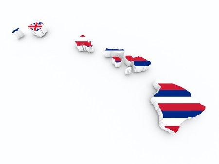 hawaii flag on 3d map