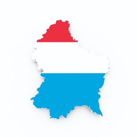 luxembourg  flag on 3d map Stock Photo