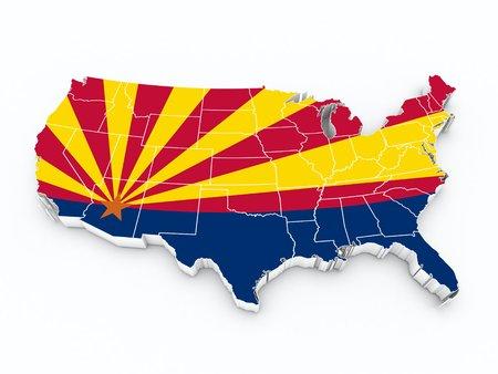usa map with arizona state flag