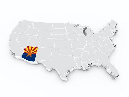 tuscon: usa map with arizona state flag