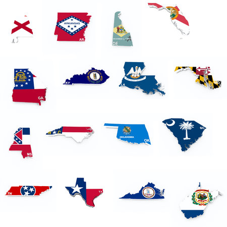 usa south states flags on 3d maps