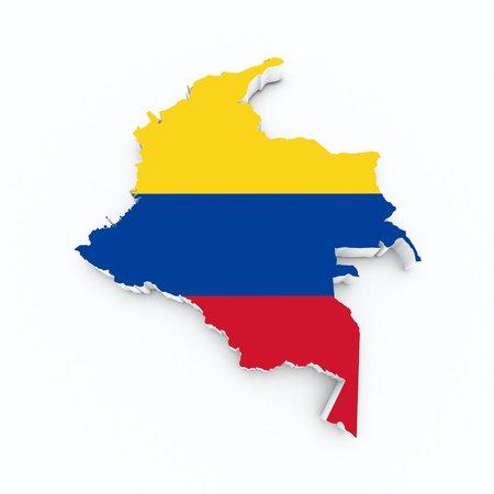 bandera de colombia: bandera de Colombia en el mapa 3D Foto de archivo