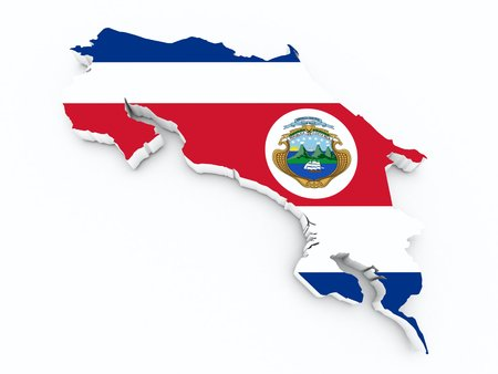 costa rica flag on 3d map Stock Photo