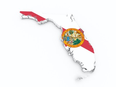 florida state: florida state flag on 3d map Stock Photo