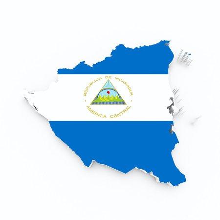 nicaragua flag on 3d map