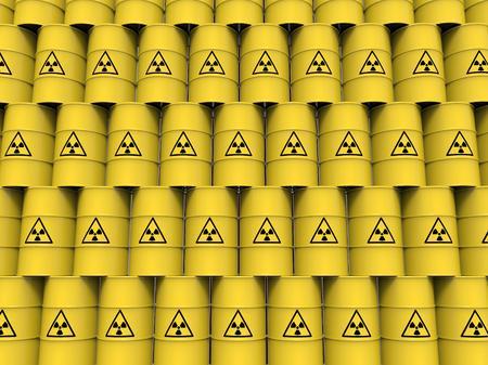 radiacion: barriles de radiación amarillo Foto de archivo