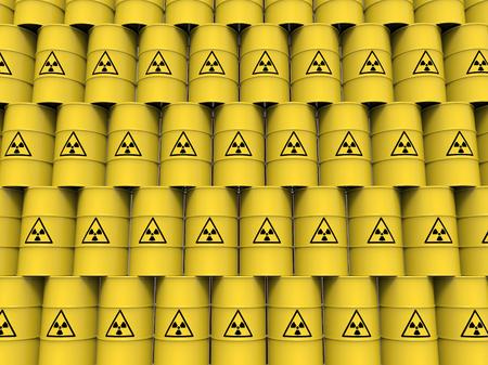 radioactive tank and warning sign: yellow radiation barrels Stock Photo