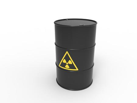 radioactive tank and warning sign: black radiation barrel Stock Photo