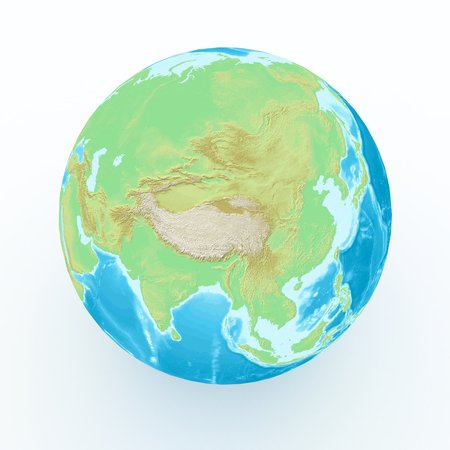 south asia: world globe with geographical features on white isolated