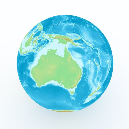 geographical: world globe with geographical features on white isolated