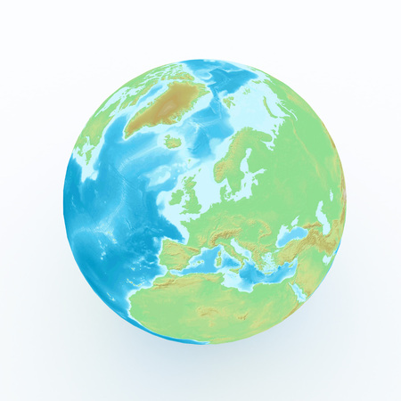 world globe with geographical features on white isolated