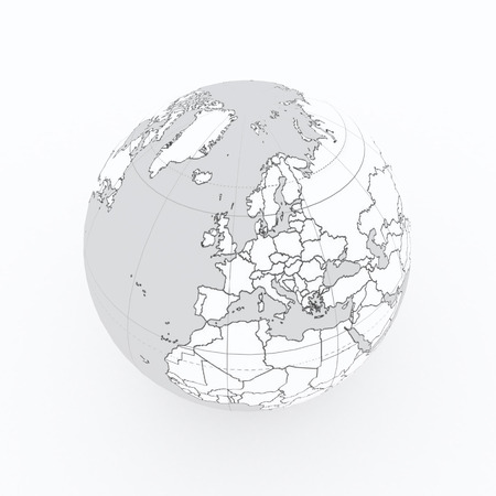 world globe with country borders on white isolated