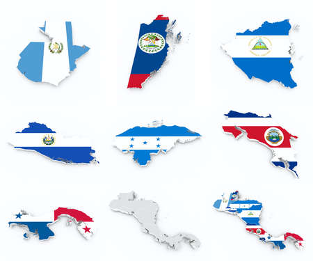 central america: central america state flags on 3d map