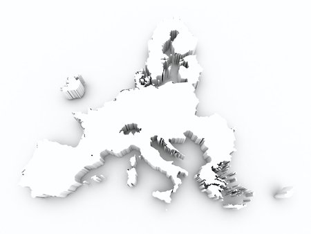 map europe union after brexit on white isolated