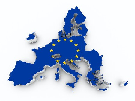 after brexit europe union flag on 3d map on white isolated Stock Photo