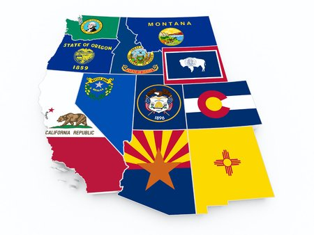california coast: usa west region flags on 3d map Stock Photo