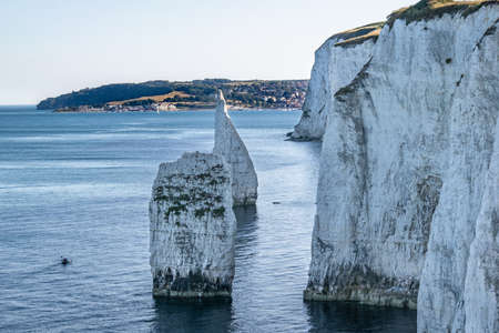 Old Harry Rocks chalk formations, view at Handfast Point, on the Isle of Purbeck, Dorset, southern England. Huge wall of white chalk cliffs