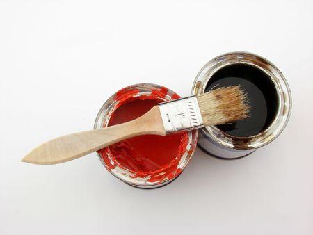 paintbucket: Paint buckets and brush Stock Photo