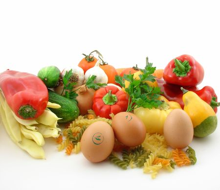 Vegetables isolated over white Stock Photo - 3678503