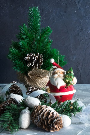 Christmas Holidays. set of Christmas decorations on concrete with copy space for your text
