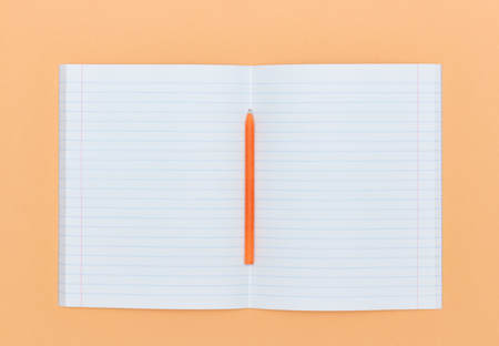 Blank Notepad with pen on orange peach color background. The View From The Top. school subjects and education. white sheet in notebook. Stockfoto