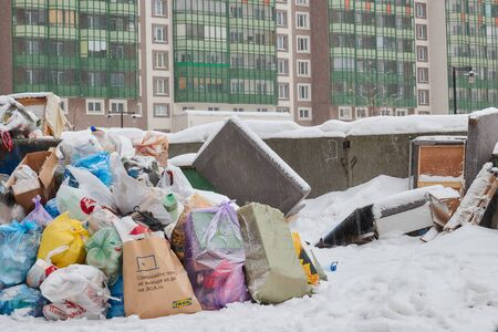Russia. Saint-Petersburg. February 2019.a lot of garbage on the s