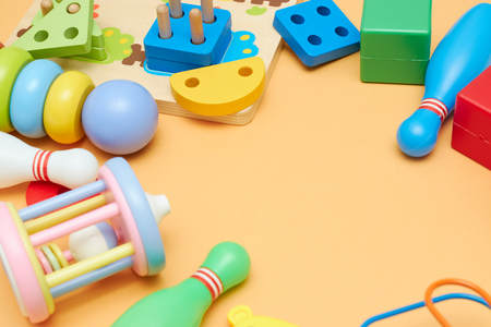 Kids toys. Background with children's toys. view from above. Stock Photo