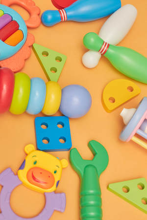 background of children's educational toys. top view close-up. toys for young children. games for the development of the child