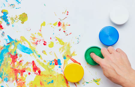 a child draws. a childs drawing inks, finger paints, hand prints