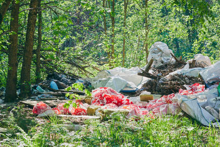 Dirty green messy nature landscape with pile of waste garbage. Imagens