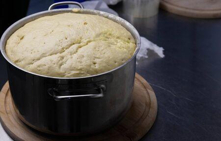 close-up fermented dough, ready to make dough, homemade fermented dough,