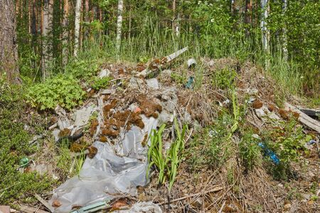 Russia, Moscow - November 25, 2017. Ecological crisis. Different garbage and trash on a ground in the forest