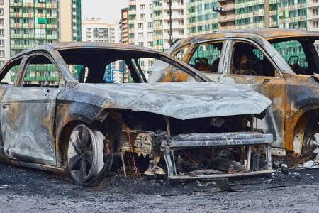 partially burned down car after the fire, parts of body the burned handles of doors and the burst glasses, picture not from pleasant, the insured car after the fire Reklamní fotografie
