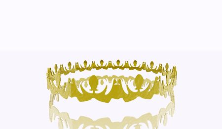 3D illustration of a gold crown on a white background