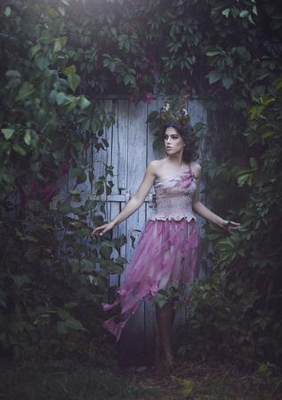 Girl enchanted Princess with horns. Girl Mystical fairy creature fawn in shabby clothes near the old door. Halloween concept ideas. Stok Fotoğraf