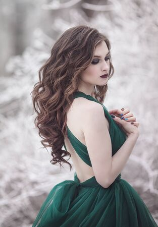Portrait of a sensual long-haired girl with closed eyes in an emerald fairy dress in the winter forest. Fairy tale fantasy story. Stok Fotoğraf