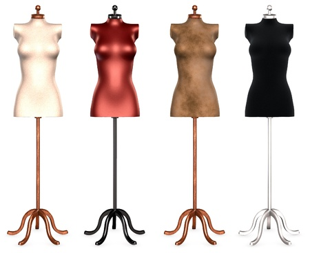 manikin: Isolated collection of dress forms in different colors Stock Photo