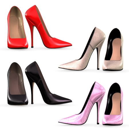 high heels: Isolated collection of high heels