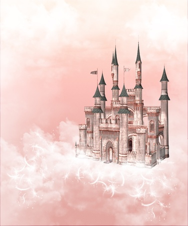fairy castle: Dream castle up in the pink clouds