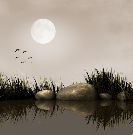 Calm lake at night