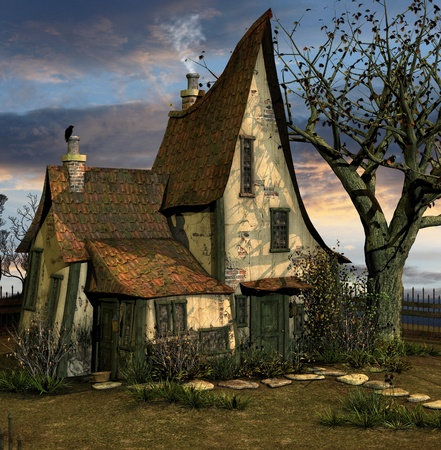 시골집: 조금 비뚤어진 집 스톡 사진
