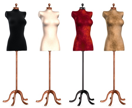 dummies: Isolated collection of dress forms in different colors Stock Photo