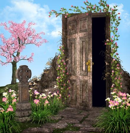 Enchanted garden illustration illustration