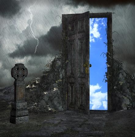 door open: night with thunderstorm illustration Stock Photo